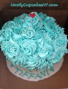Tiffany cupcake rose birthday cake.