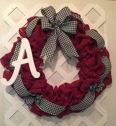 Alabama Roll Tide Wreath - Alabama Wreath - Roll Tide Wreath - Collegiate SEC Wreath - Saban Decor - UA Decor - Roll Tide - Big Al Decor - by ElsiesCreativeDesign on Etsy https://www.etsy.com/listing/245828827/alabama-roll-tide-wreath-alabama-wreath