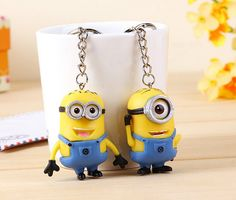 2017 Hot Sale Fashion Cartoon Key Chain Despicable Me 3D Eye Small Minions Figure Kid toy Keychain 1 pcs or 2Pcs for lovers gift