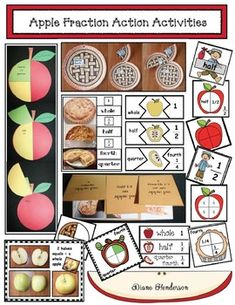"""Fractions are a bit tedious for kiddos to wrap their heads around, so I designed these quick, easy & fun """"apple fraction action activities. Fraction Games, Fraction Activities, Graphing Activities, Apple Activities, Pre K Activities, Apple Games, Apple Center, Apple Unit, Math Fractions"""