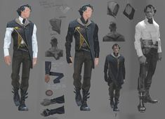 """crownkillers: """" from the dishonored 2 artbook corvo's outfit in the game is cool too but i feel a little robbed that it wasn't as extra as this """" Character Sheet, Character Concept, Character Art, Concept Art, Sergey Kolesov, Fantasy Angel, Dishonored 2, Cyberpunk Character, Le Far West"""