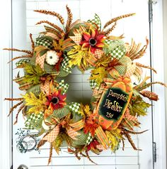 Fall Deco Mesh Wreath - Pumpkin Pie Slice - Fall Wreath - Fall Decor - Door Decor - Pumpkin - Fall - Mesh Wreath by WreathsEtcbyLisa on Etsy