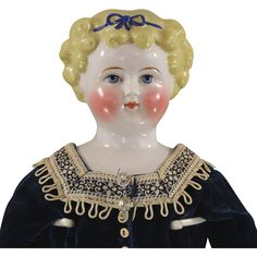 Dolley Madison Blonde China Head Lady doll Larger Size Beautifully Dressed found at www.rubylane.com @rubylanecom