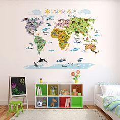 Wandsticker Weltkarte Kinder | Geographie U0026 Tierwelt Spielerisch Erlernen  Mit De