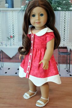 Red and White Dress for Saige or any American Girl Doll