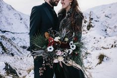 Wild winter wedding bouquet | Image by White Ash Photography