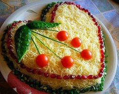 Chicken salad with cheese — Cooking Recipes Amazing Food Decoration, Iran Food, Vegetable Snacks, Snack Recipes, Cooking Recipes, Sandwich Cake, Food Garnishes, Valentines Food, Food Platters