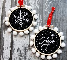 Chalk Embroidery Mini Hoop Ornaments - Sugar Bee Crafts