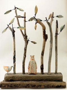Shirley Vauvelle is an artist, painter, sculptor and ceramicist. View their art website showing sculptures, paintings, ceramics and textiles. Mixed Media Sculpture, Ceramics Projects, Paperclay, Assemblage Art, Driftwood Art, Sculpture Clay, Mixed Media Artists, Polymer Clay Art, Animal Sculptures