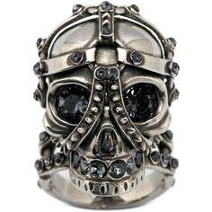 Alexander McQueen Harness Skull Ring ($415) ❤ liked on Polyvore featuring jewelry, rings, accessories, skull jewelry, skull ring, skull jewellery, swarovski crystal rings and alexander mcqueen