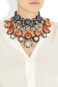 ERICKSON BEAMON  Modern Mughal 22-karat gold-plated Swarovski crystal necklace