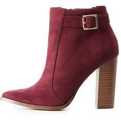 Charlotte Russe Pointed Toe Ankle Booties ($20) ❤ liked on Polyvore featuring shoes, boots, ankle booties, burgundy, boho boots, pointy-toe boots, stacked heel boots, pointed-toe boots and buckle ankle booties