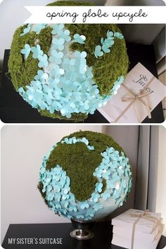 Turn a thrifted globe into a beautiful statement piece for 5 dollars! www.sisterssuitcaseblog.com #upcylce #earthday