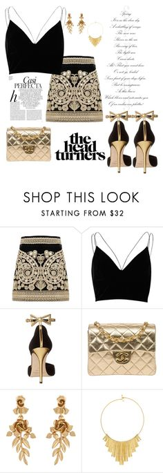 """""""Golden night out"""" by xxmisswxx ❤ liked on Polyvore featuring For Love & Lemons, River Island, Oscar de la Renta, Chanel, BERRICLE and Whiteley"""