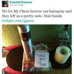All Time Low and My Chemical Romance a.k.a. Hair Bands. I know I've pinned this before but I love this!<3