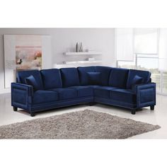 With plenty of seating and plenty of style, the Meridian Furniture Inc Ferrara 2 Piece Sectional Sofa with Pillows is the perfect addition to your living. 2 Piece Sectional Sofa, Leather Sectional Sofas, Couches, Navy Sectional, Corner Sectional, Blue Velvet Sofa, Meridian Furniture, My Escape, Sofa Furniture