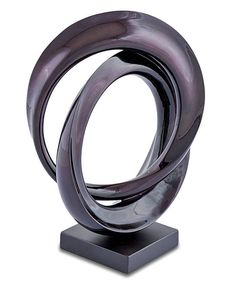 """""""Cipher-Small"""" Modern Wood Sculpture, Stohans Showcase. Intriguing contemporary wood sculpture consisting of two open circular forms that are intertwined and connected together at the top and bottom of the design. The bold wood rings have gracefully sculptured edges that gently twist as the forms intertwine. Both rings are heavier and thicker on one side and then taper into a thinner form."""