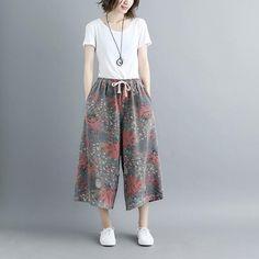 Women Summer Casual Pockets Hole Floral Wide Leg Pants