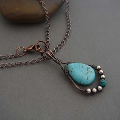 Turqouise and copper wire wrapped vintage native american style jewelry