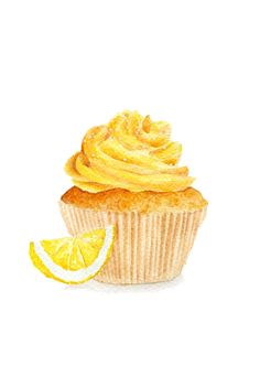 ORIGINAL Painting - Lemon Cupcake (Sweet Food Watercolors Wall Art, Still Life) A5
