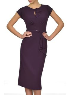 """""""I received my Aubergine Rita dress today. It is beautiful. It fits me in all the right places, and it is beautifully made. It has the right combination of looking smart, elegant and sexy all at the same time, a difficult feat to achieve. I shall feel a million dollars at my sons wedding on Friday."""" -- A customer"""