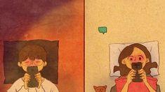 Kal bat karni hai 😍😋m missing u Love Cartoon Couple, Cute Couple Art, Couple Drawings, Love Drawings, Love Is Sweet, Cute Love, Couple Illustration, Illustration Art, Puuung Love Is