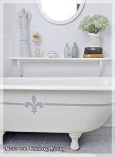 painted clawfoot tub with chalk paint