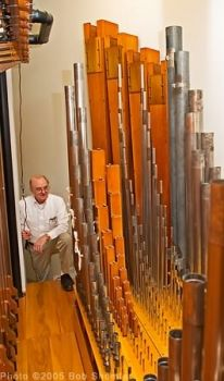 Ed Stout and the San Jose California Theatre Wurlitzer's pipework.
