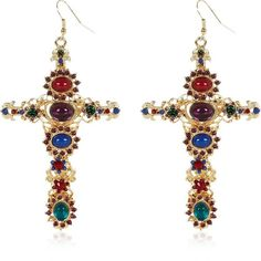 River Island Gold tone jewelled cross drop earrings (21 BRL) ❤ liked on Polyvore featuring jewelry, earrings, sale, cross earrings, jewels jewelry, cross drop earrings, gold tone jewelry and earrings jewelry