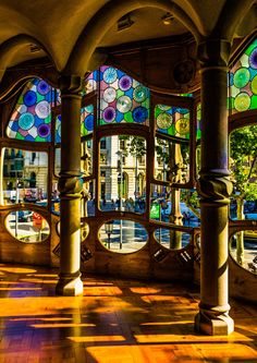 Casa Batllo - Gaudi Photography - Wall Art - Fine Art Photography - Blue - Gaudi - Colourful - Mosaic - Barcelona - Batllo Lights - 0050 by southseastudio on Etsy Cathedral Architecture, Beautiful Architecture, Beautiful Buildings, Modern Buildings, Architecture Tattoo, Art And Architecture, Antoni Gaudi, Building Art, Art Deco Design