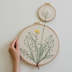 Embroidery artist Veselka Bulkan (previously) continues to produce carefully embroidered works of root-bound plants found in gardens. The pieces all interact with hoops in various ways, from potted plants and potatoes that dangle from the edge to dandelions that stretch between two hoops. Bulkan has