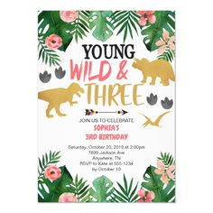 Girl's Young Wild & Three Dinosaur 3rd Birthday Invitation Wedding Color Schemes, Wedding Colors, Dinosaur Birthday Invitations, Girl Dinosaur, Third Birthday, Birthday Ideas, White Envelopes, Create Yourself, Christmas Gifts