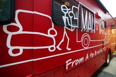 Man with the Van Red Matte Fleet wraps - Car wraps NYC #RV #wrap #vinyl #design #car