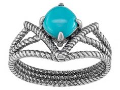 Southwest Style By Jtv(Tm)6mm Square Cushion Cabochon Sleeping Beauty Turquoise Sterling Silver Ring