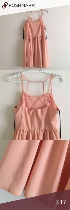 Forever 21 - LARGE Baby Pink Strappy Mini Dress Perfect for spring! This mini dress has a subtle sweetheart neckline, with crossing straps in the back! Zipper closure at side. 97% Polyester, fits snug. Wore once to a wedding! Forever 21 Dresses Mini