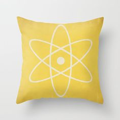 Atom Pillow Decorative Dorm Room Pillow Atomic Symbol by HappyPillowShop