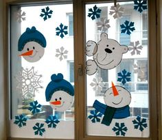 DIY Window Decor Ideas For Christmas - Weihnachten Decoration Creche, Christmas Window Decorations, Snowman Decorations, School Decorations, Christmas Love, Christmas Crafts, Christmas Design, Merry Christmas, Winter Crafts For Kids