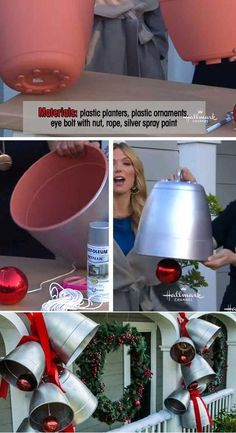Spray Painted Decorations for Christmas Will Save You Money Use Silver Spray Paint on These Plastic Planters to Transform Them into Giant Holiday Bells.Use Silver Spray Paint on These Plastic Planters to Transform Them into Giant Holiday Bells. Christmas Porch, Diy Christmas Ornaments, Christmas Projects, Christmas Lights, Christmas Holidays, Christmas Crafts, Diy Outdoor Christmas Decorations, Decorating For Christmas, Disney Christmas
