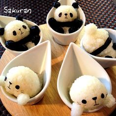 Panda and Seal in cup onigiri (cuteness overload! Japanese Food Art, Japanese Sweets, Cute Food, Yummy Food, Cute Bento Boxes, Kawaii Bento, Bento Recipes, Food Decoration, Food Humor