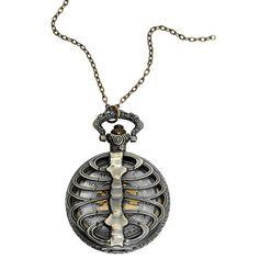 """Skeleton Taschenuhr von Alcatraz:  - Skelett-Taschenuhr mit Halskette - weißes Ziffernblatt mit goldenen Zahlen - Länge 6,8 cm - Breite 4,6 cm - Kettenlänge 80 cm - mit Karabinerhakenverschluss - zum Einstellen der Uhrzeit oben ziehen und drehen - sollte von Flüssigkeiten ferngehalten werden  Wer steht schon auf langweilige Uhren? Die Dudes von Alcatraz auf jeden Fall nicht. Bei uns bekommt ihr die """"Skeleton"""" Taschenuhr von Alcatraz. Die Taschenuhr sieht aus wie ein Skelett-Brustpan..."""
