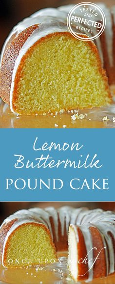 If ever there were a cake for lemon lovers, this is it. Lemon zest and lemon juice are added to the batter, which lightly perfume the cake with lemon. Then, while the cake is still warm from the oven, it is doused with lemon syrup to further enhance the l Lemon Buttermilk Pound Cake, Lemon Bundt Cake, Buttermilk Recipes, Lemon Pound Cakes, Vanilla Cake, Lemon Syrup, Lemon Curd, Cupcake Cakes, Cupcakes