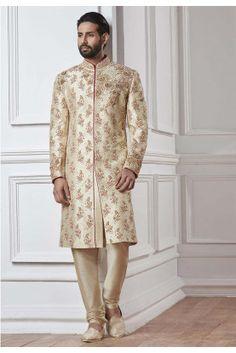 Cream Color Silk Sherwani With Matching Churidar Pajama Embellished With Zari,Embroidery,Zardozi Work to add a grace. Sherwani For Men Wedding, Sherwani Groom, Mens Sherwani, Wedding Suits, Wedding Dress, Indian Wedding Clothes For Men, Indian Wedding Outfits, Affordable Mens Suits, Indian Look