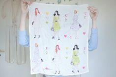 Silk scarf illustration by Caitlin Shearer