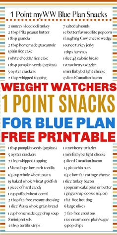 A free printable 1 point snack ideas for WW Blue Plan will help you keep on target with your goals. These healthy snack ideas for quick and easy. Weight Watchers Snacks, Weight Watchers Tipps, Weight Watchers Food Points, Weight Watchers Program, Weight Watchers Meal Plans, Weight Watchers Chicken, Low Fat Snacks, Healthy Snacks List