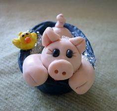 Polymer Clay Pig In A Bathtub by trinasclaycreations on Etsy, $25.00