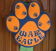 War Eagle Auburn Tiger Paw burlap and wall hanger. $30.00, via Etsy.