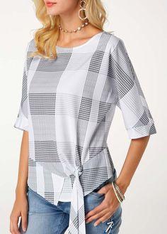 Half Sleeve Asymmetric Hem Printed Tie Side Blouse | Rosewe.com - USD $30.03