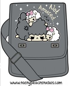 Poor grumpy black sheep can't get any sleep His baby twin sheep sisters are determined to cuddle and play with him Who needs nap time anyways when you have ears Tasty Peach Studios, Twin Babies, Kawaii Cute, Unique Fashion, Cuddling, Sheep, Messenger Bag, Snoopy, Purses