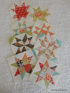 Tutorial for a scrappy sawtooth star quilt block.
