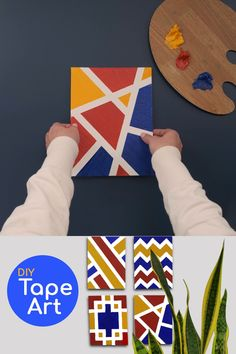 DIY Tape Art - A Simple Arts and Crafts Activity for Kids A fun and unique take on painting! Help your little ones get creative with this fun finger-painting craft! Makes a great decoration to hang in their b. Tape Painting, Finger Painting, Diy Painting, Acrylic Painting Canvas, Kids Canvas Art, Diy Canvas, Diy Wall Art, Diy Art, Easy Arts And Crafts